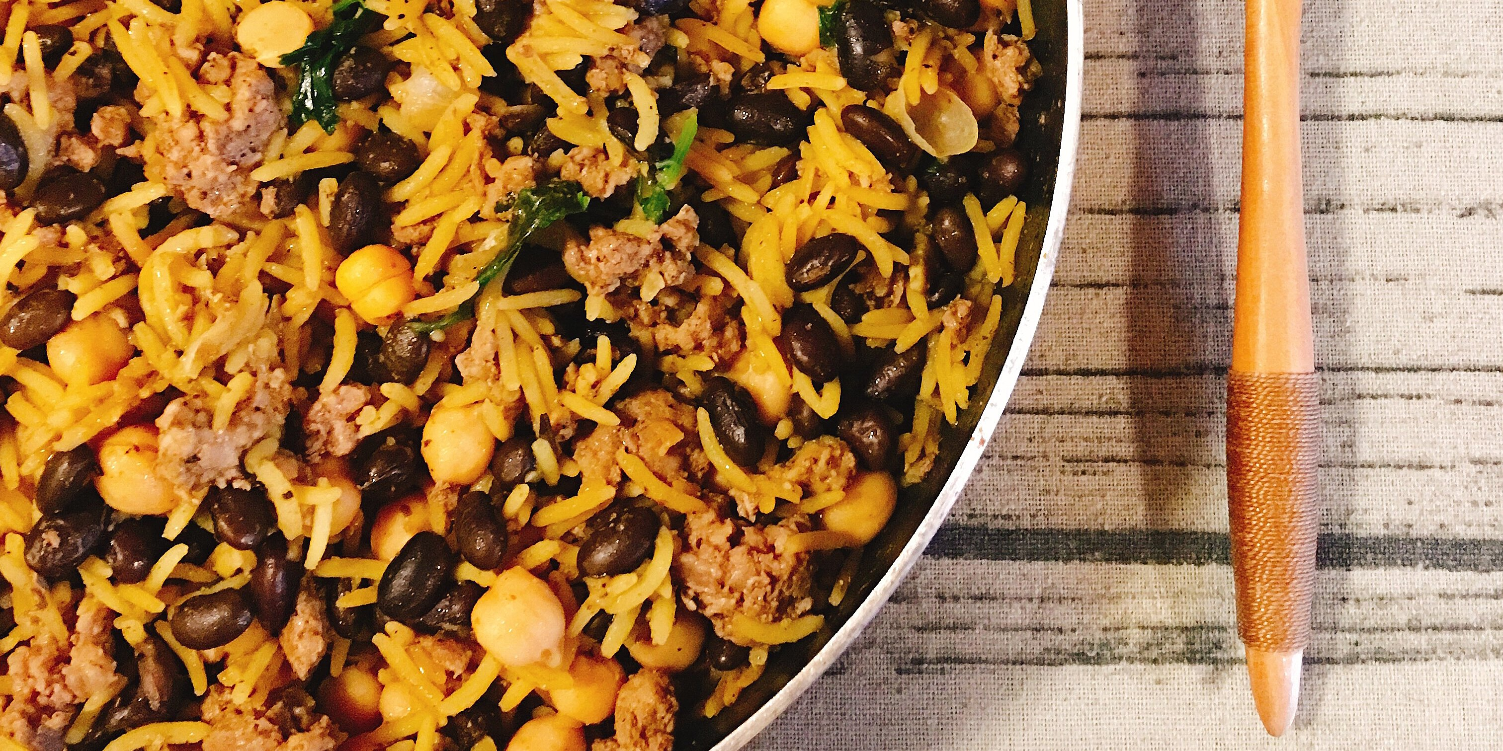 back to middle eastern rice with black beans and chickpeas recipe