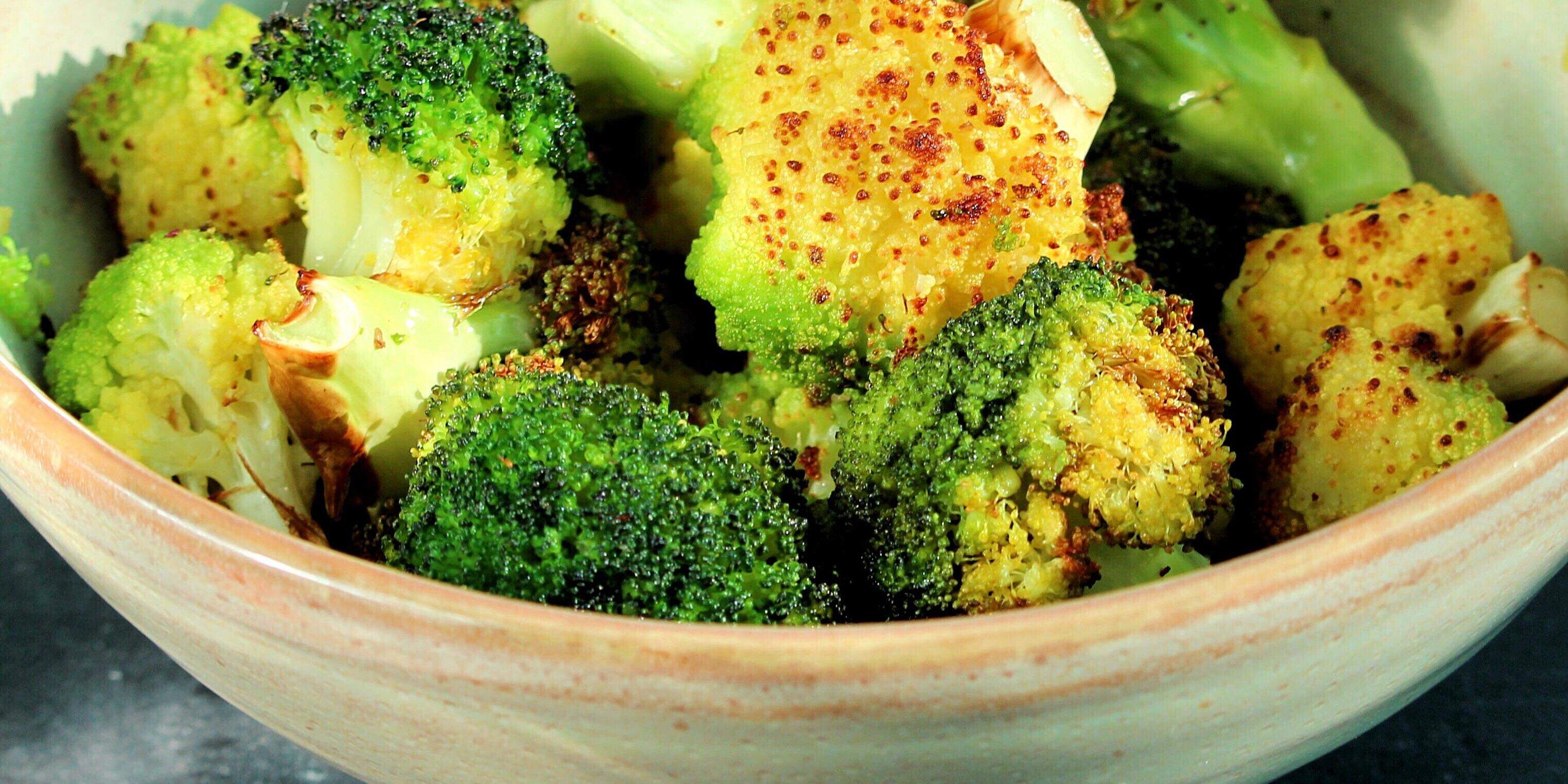 air fryer roasted broccoli and cauliflower recipe
