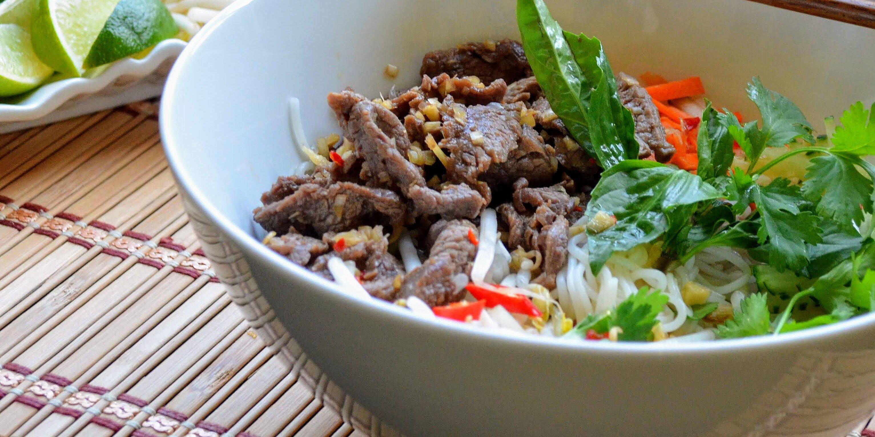 vietnamese lemongrass beef and noodles recipe