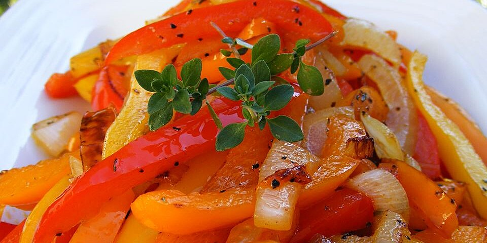 caramelized red bell peppers and onions recipe