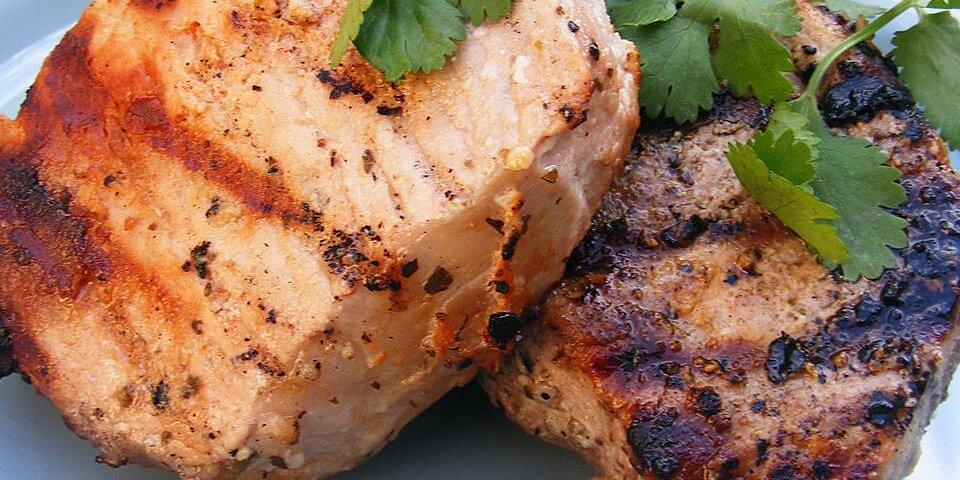 grilled lemon herb pork chops recipe