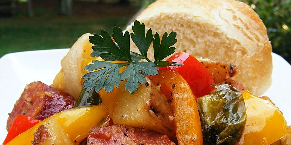 kielbasa with peppers and potatoes