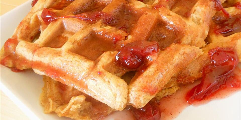 sweet potato waffles with cranberry maple syrup recipe