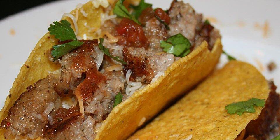 sausage and egg tostadas