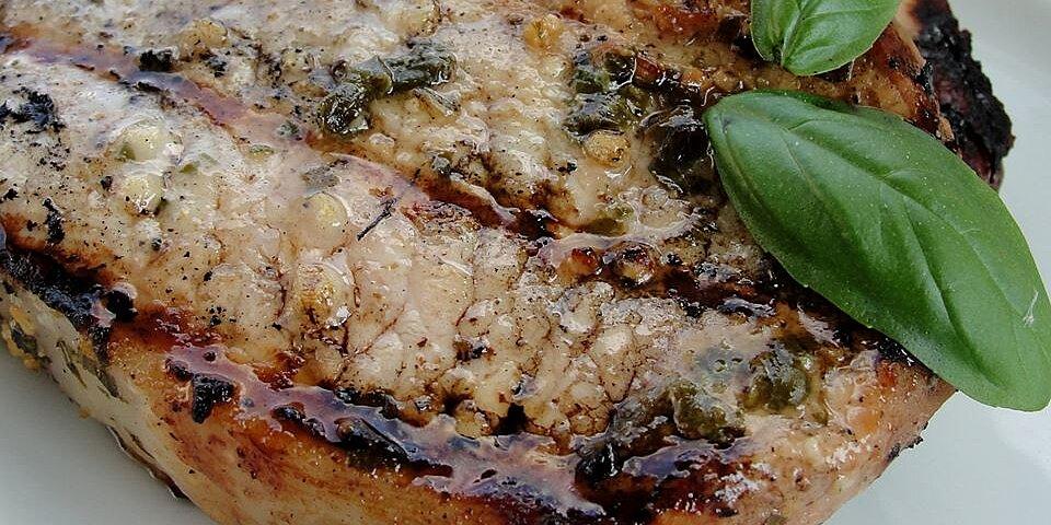 basil garlic grilled pork chops recipe