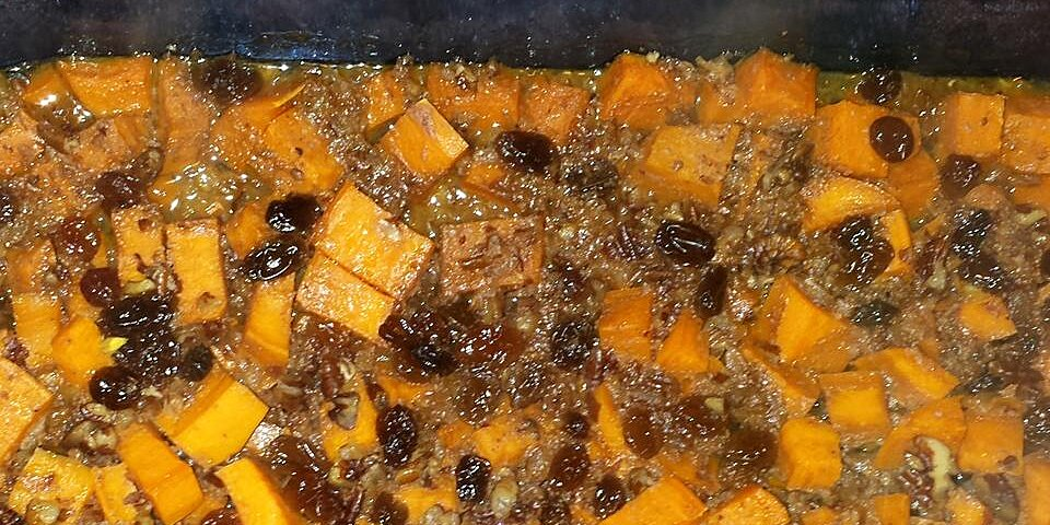 baked sweet potatoes with raisins and pecans recipe