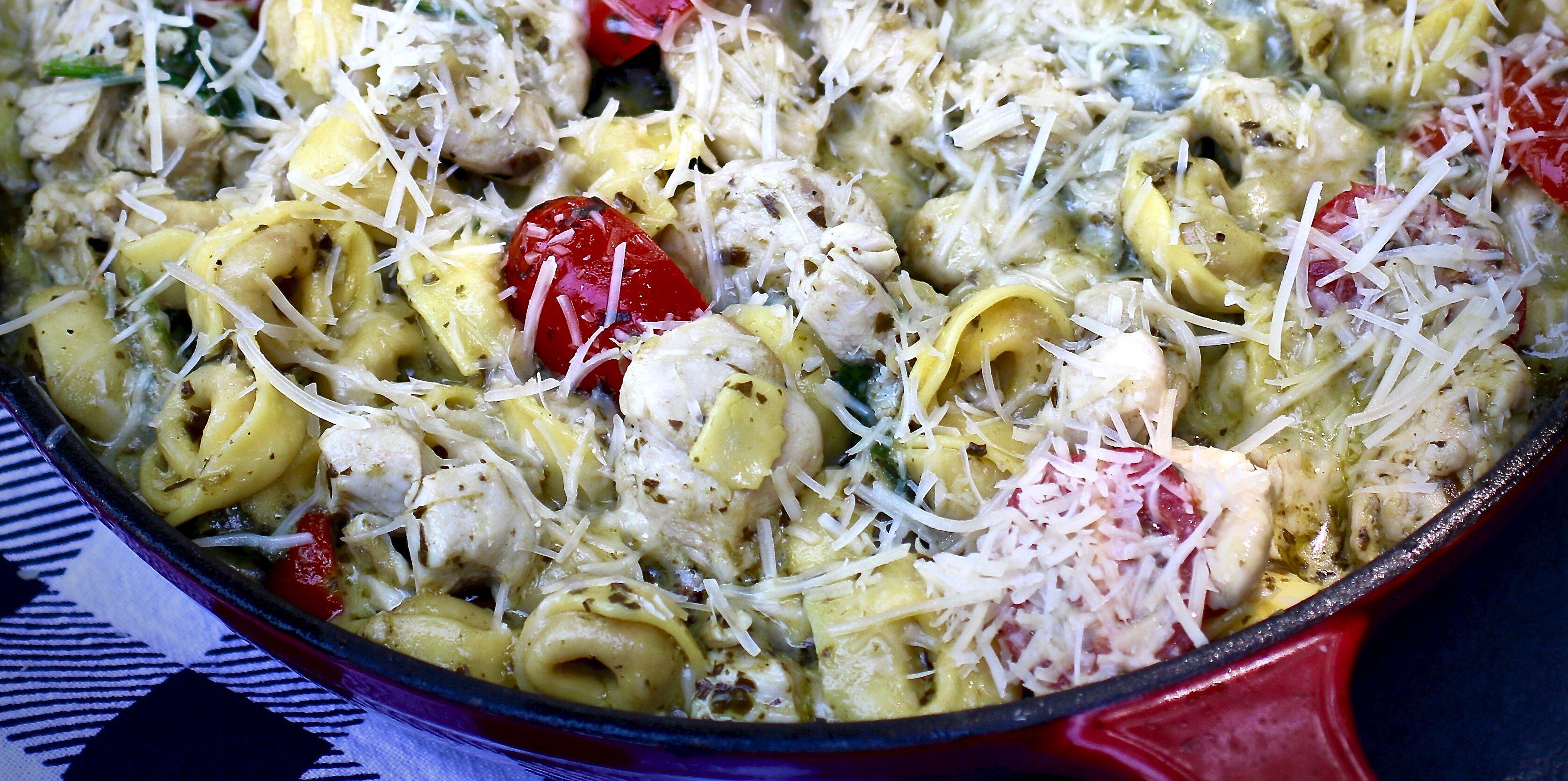 chicken and tortellini pesto skillet recipe