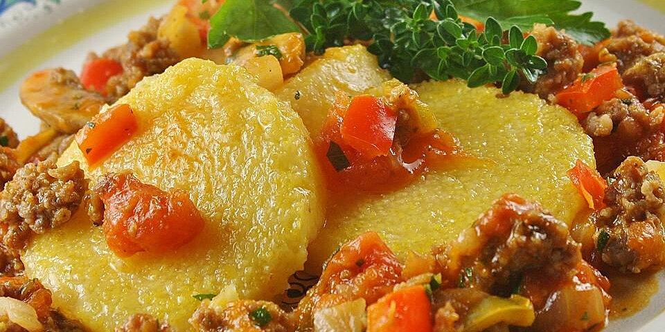 polenta with spicy sausage veggie sauce recipe