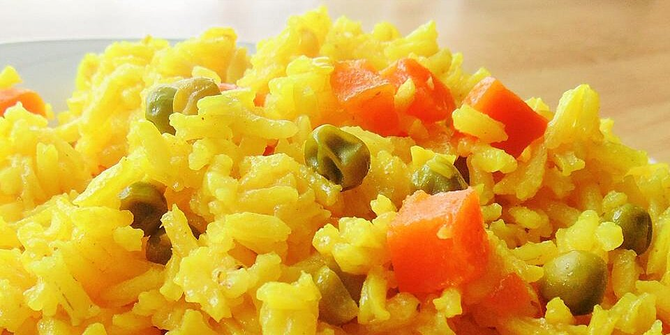 turmeric rice with peas and carrots recipe