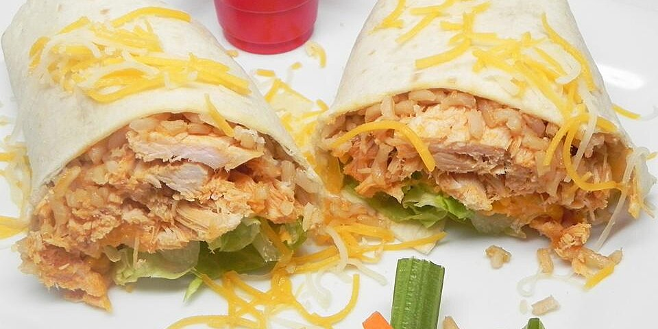 buffalo or barbeque chicken and rice wraps recipe