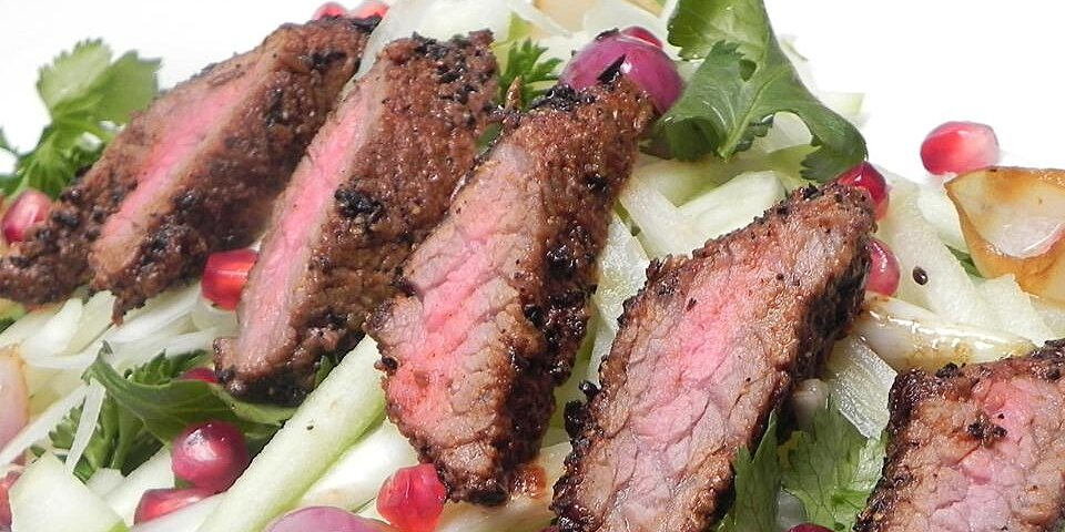 gabes coffee crusted hanger steak with apple fennel and herb