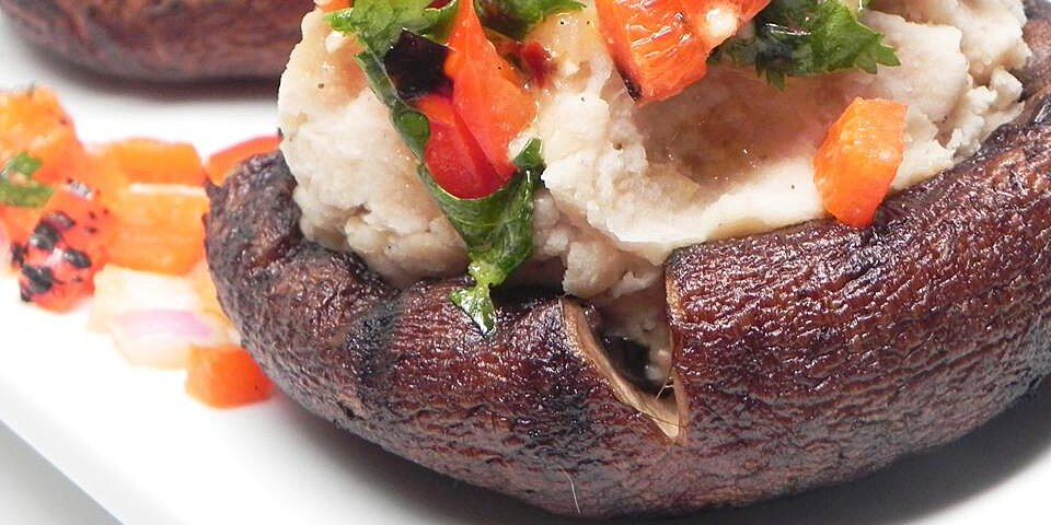 grilled portobello mushrooms with mashed cannellini beans and