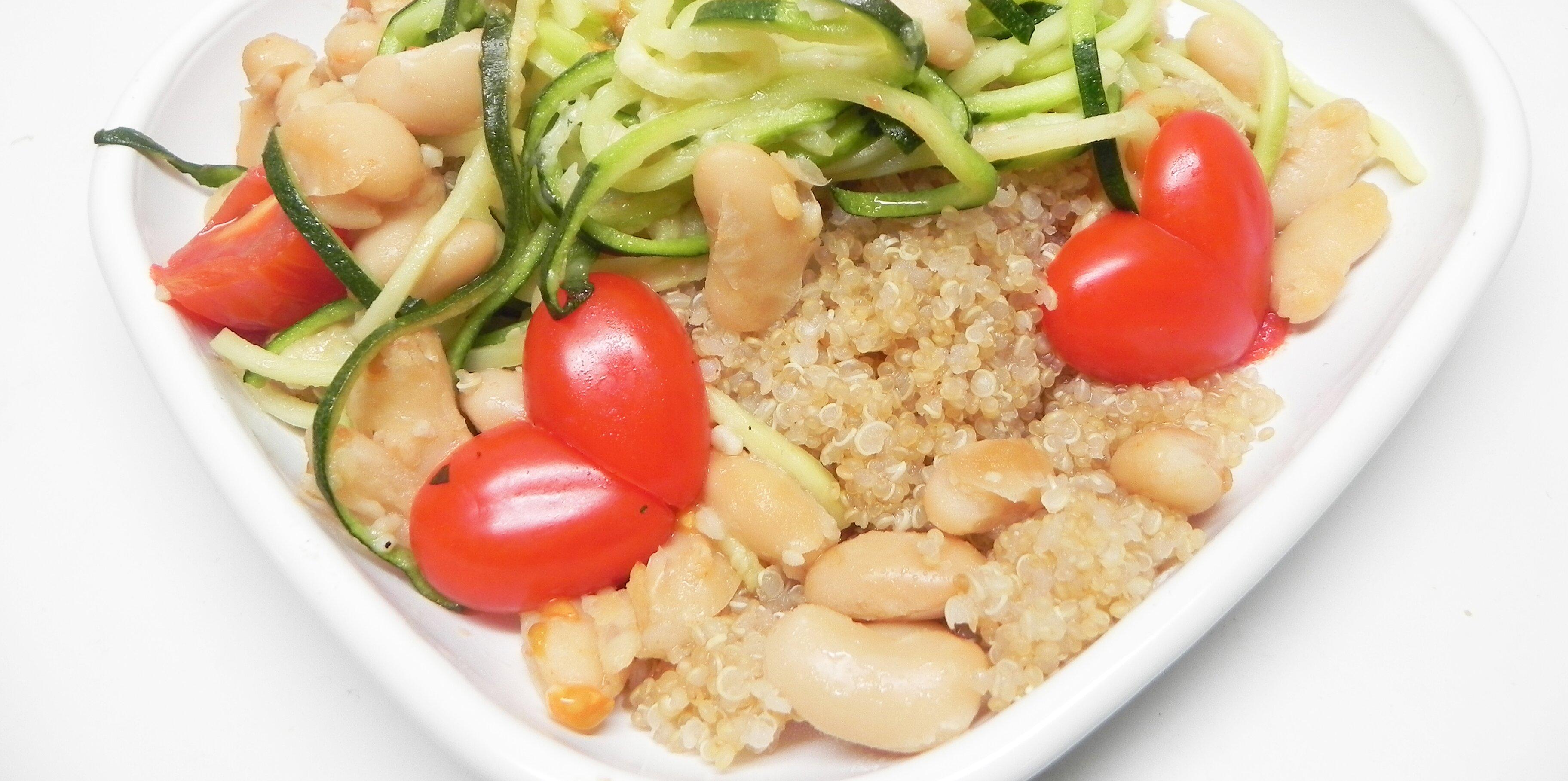 zucchini noodle and cannellini bean quinoa bowl recipe