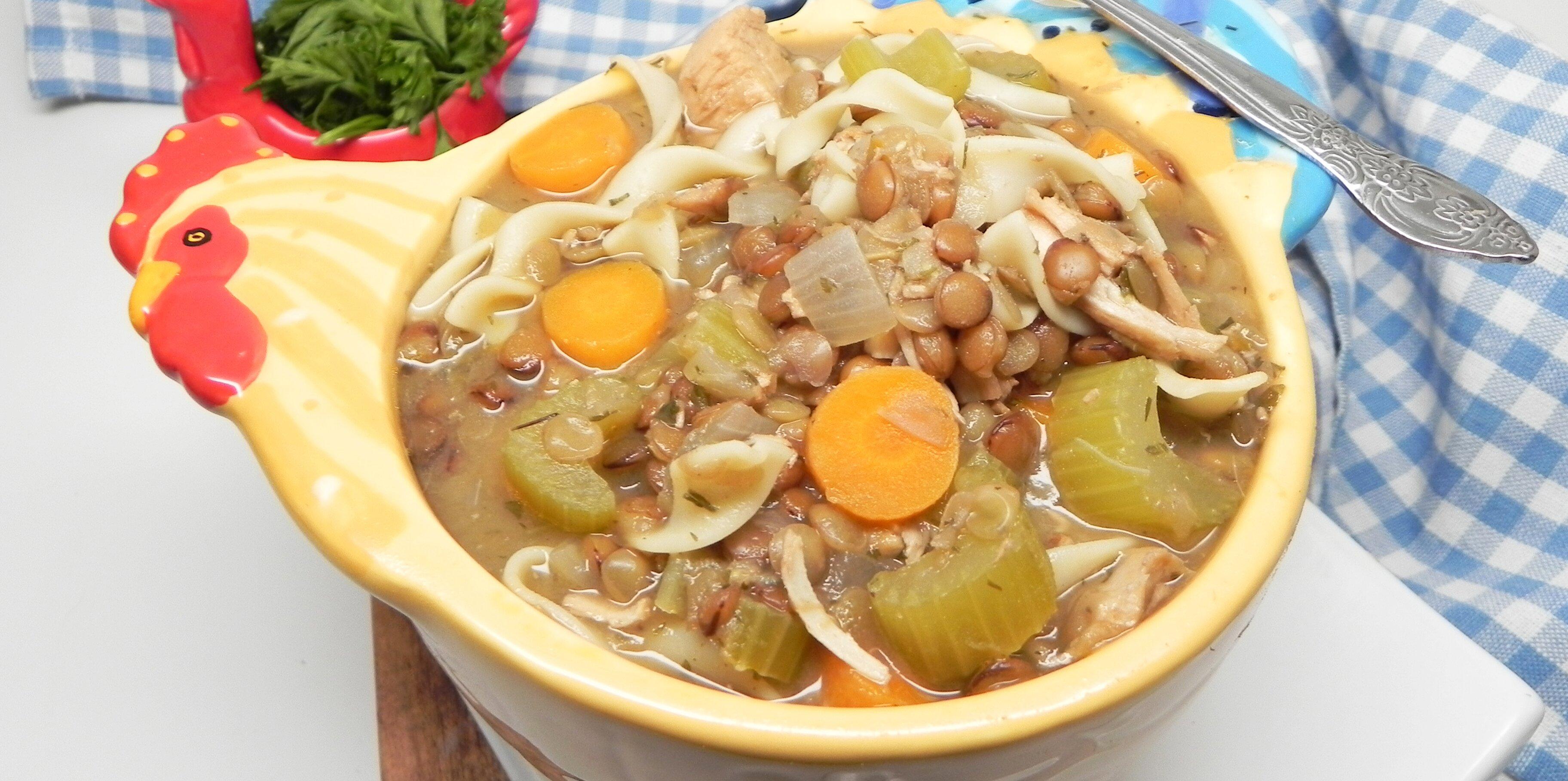 instant pot lentil chicken noodle soup recipe