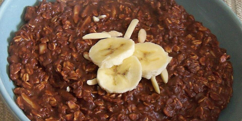 banana chocolate and almond breakfast oatmeal
