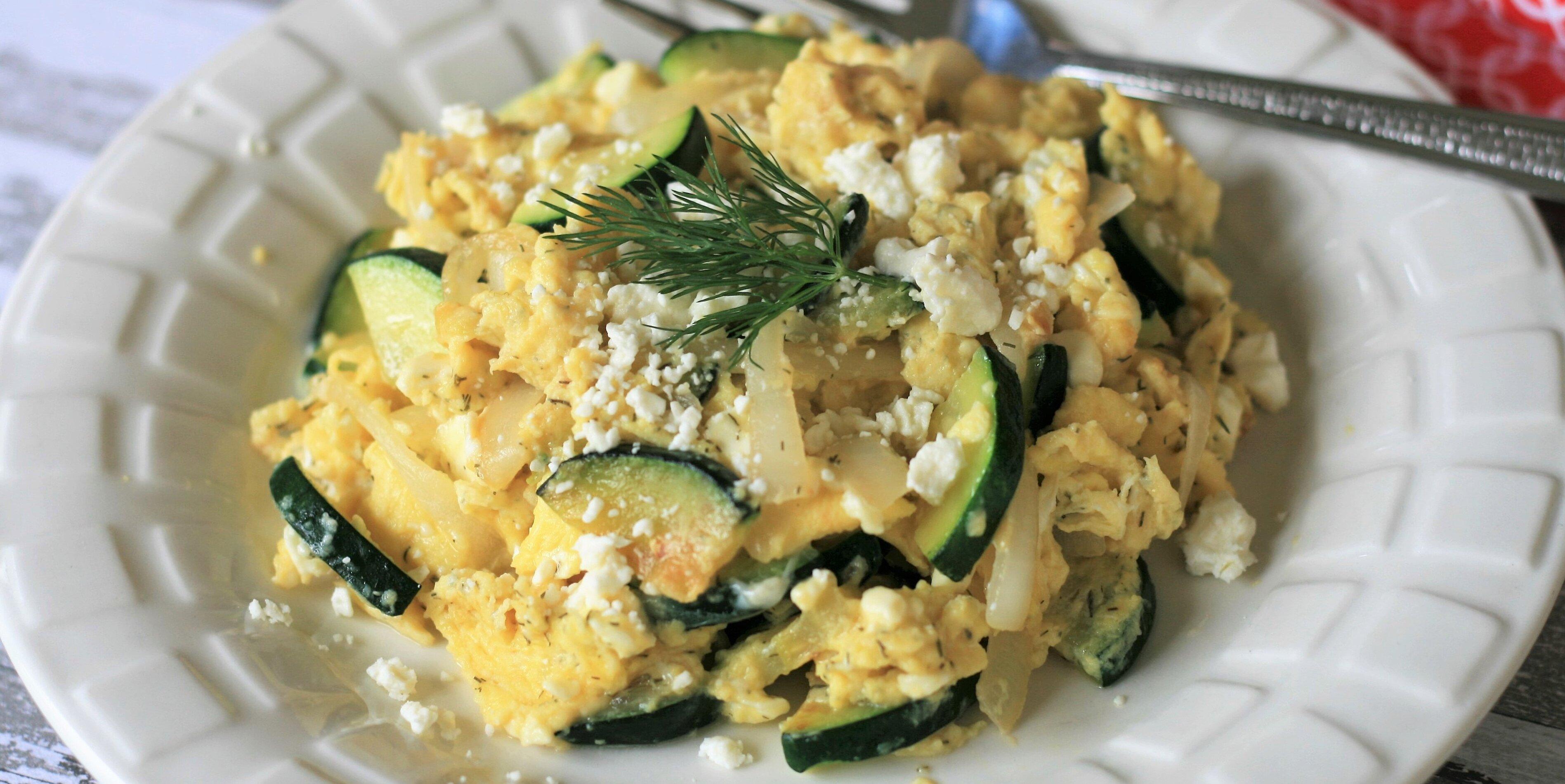 scrambled eggs with zucchini and feta recipe