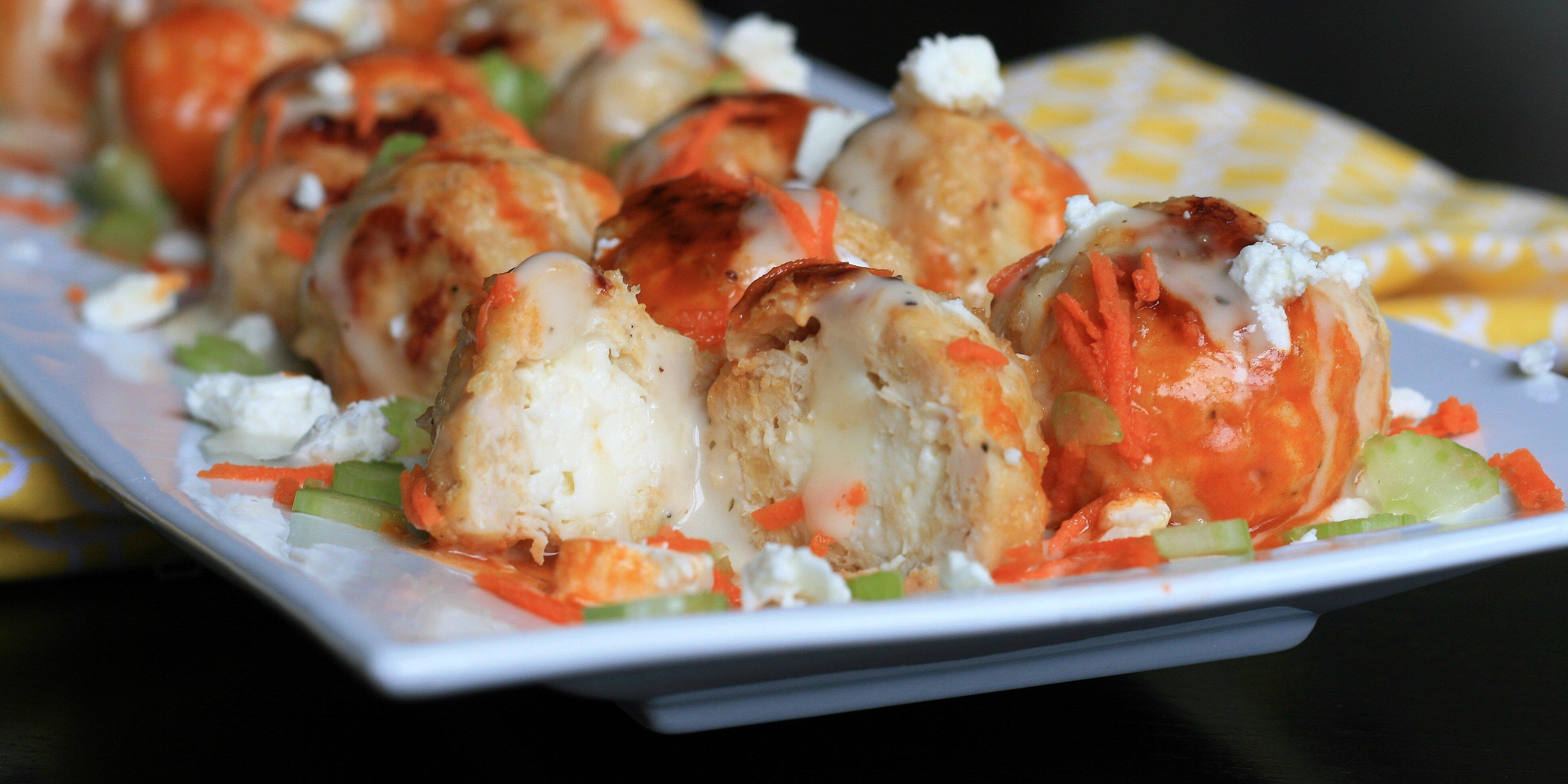 stuffed buffalo chicken meatballs recipe