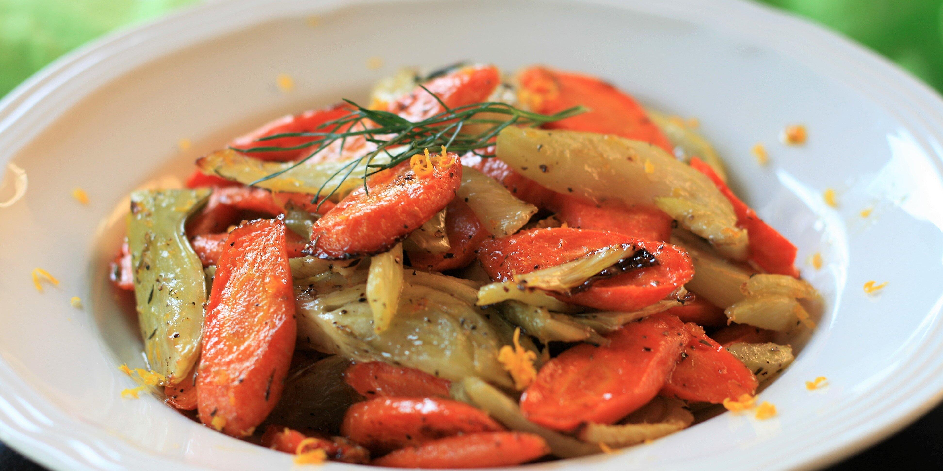 orange maple roasted carrots and fennel recipe