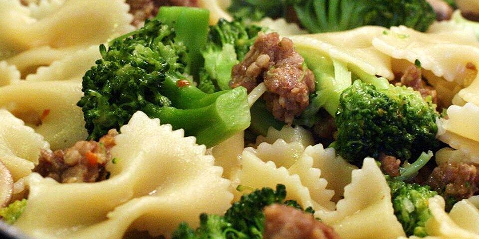italian sausage with farfalle and broccoli rabe recipe