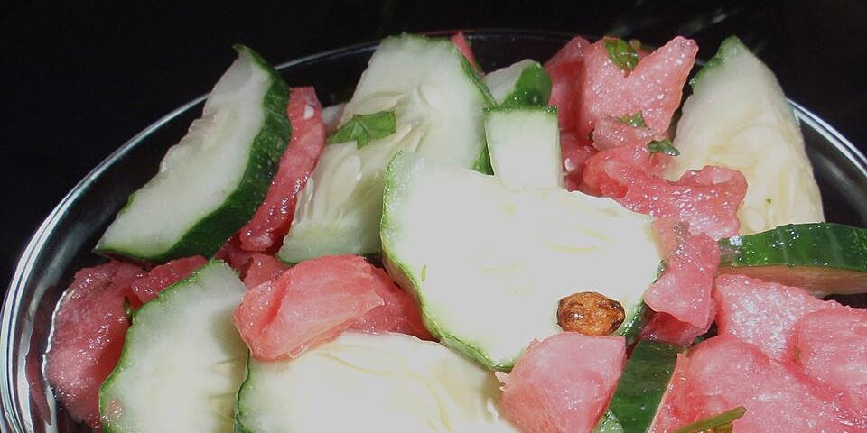 watermelon cucumber salad with sushi vinegar and lime recipe