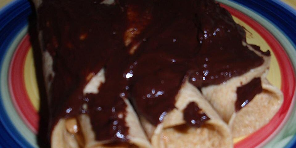 peanut butter filled crepes with warm chocolate sauce recipe