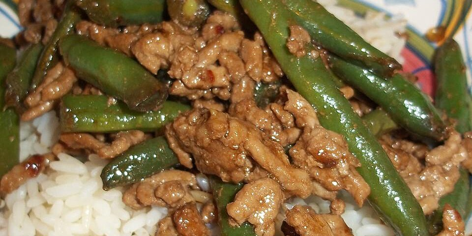 kicked up ground pork with green beans recipe