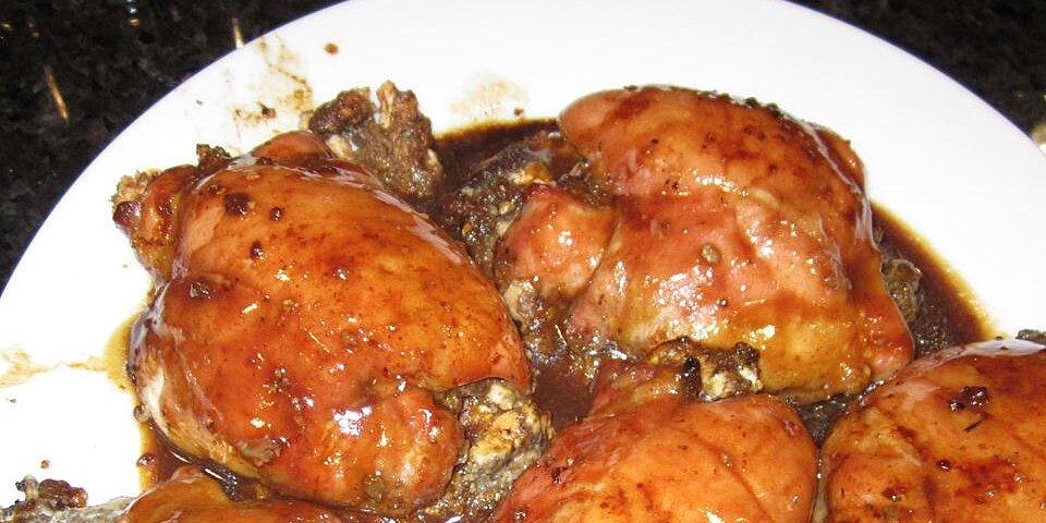 mushroom stuffed chicken breasts in a balsamic pan sauce