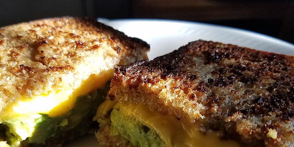 creamy jack grilled cheese with fruit glazed avocado
