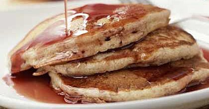 Buttermilk Banana Pancakes With Pomegranate Syrup Recipe Myrecipes