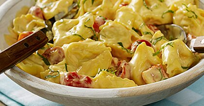 Four Cheese Tortellini with Tomatoes and Basil Recipe
