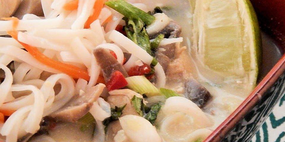 thai coconut chicken soup noodle bowl recipe