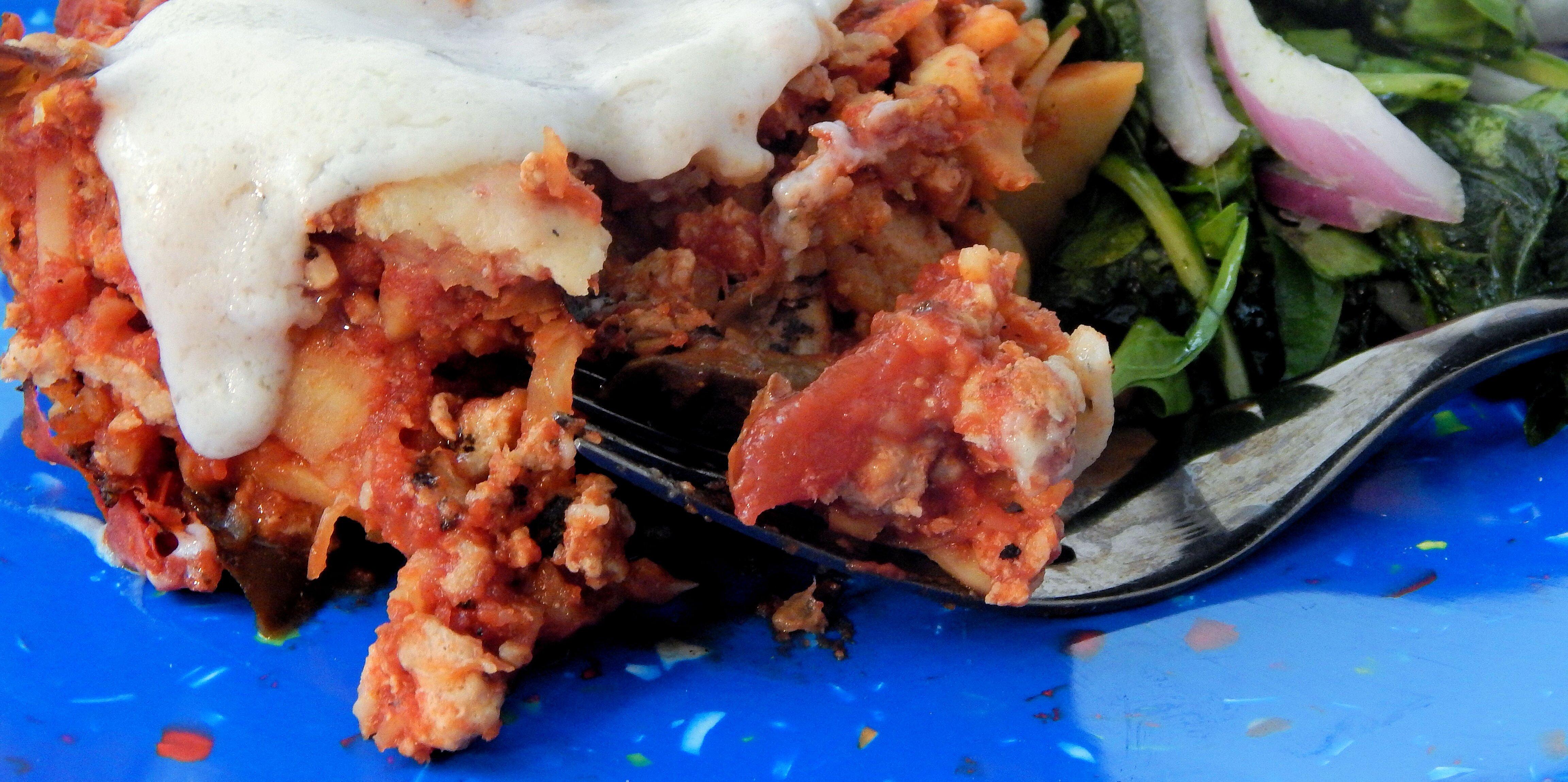 paleo turkey sweet potato casserole with eggplant and tomato