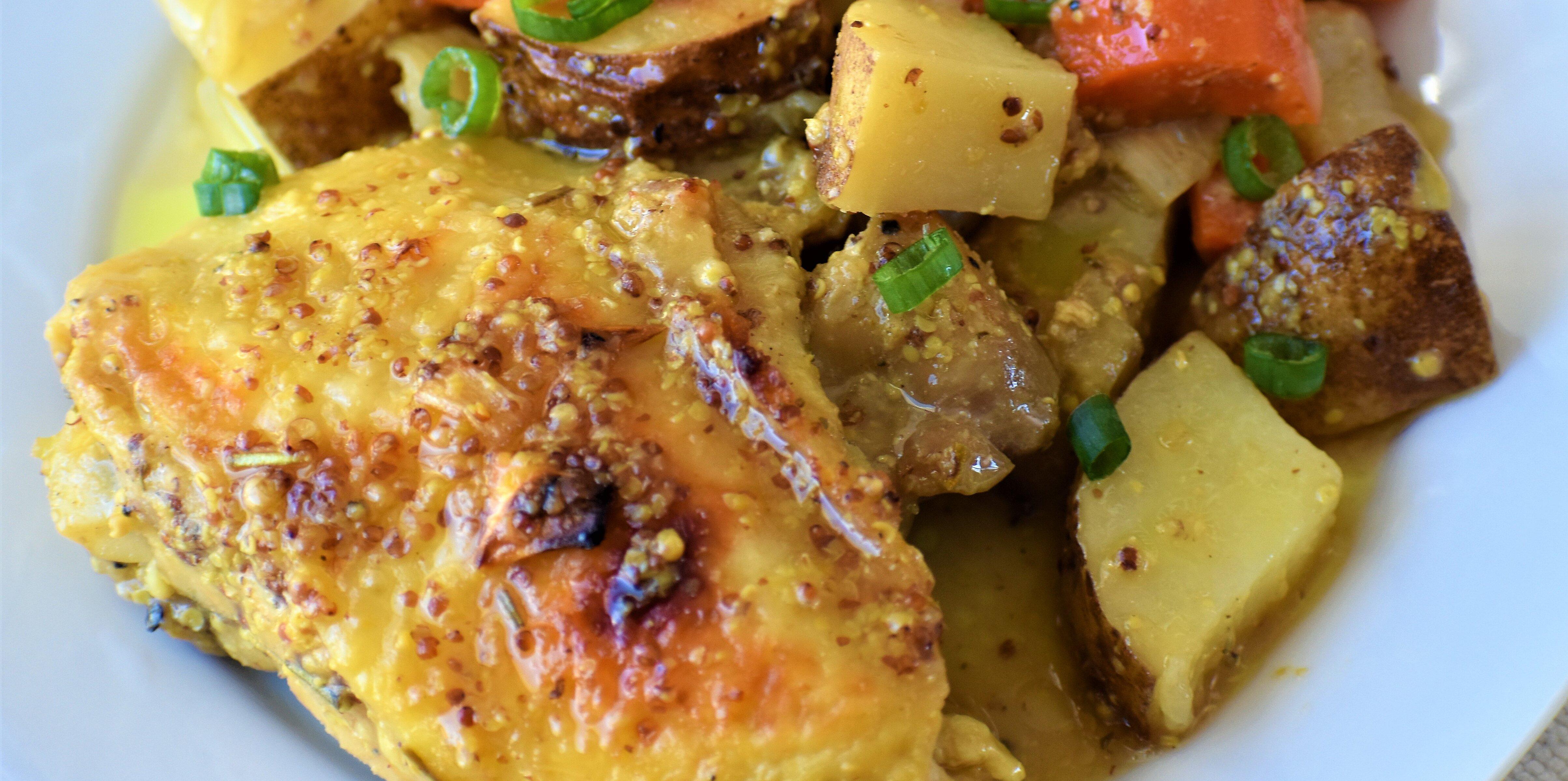 easy honey mustard chicken and potato bake recipe