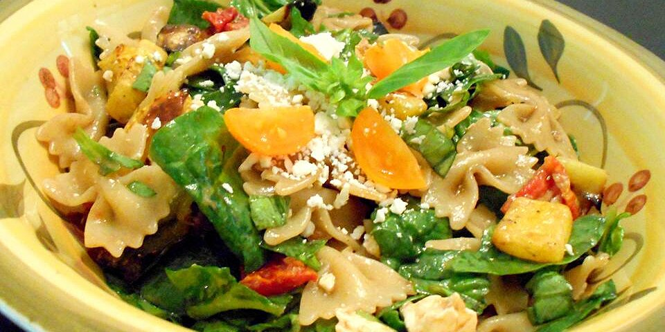 back to greek pasta salad with roasted vegetables and feta recipe