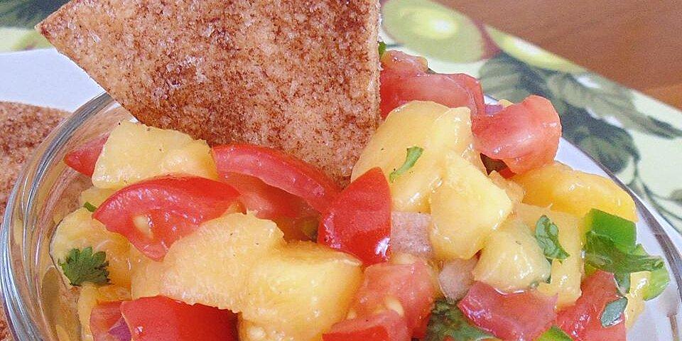 fresh and simple peach salsa with cinnamon sugar chips recipe