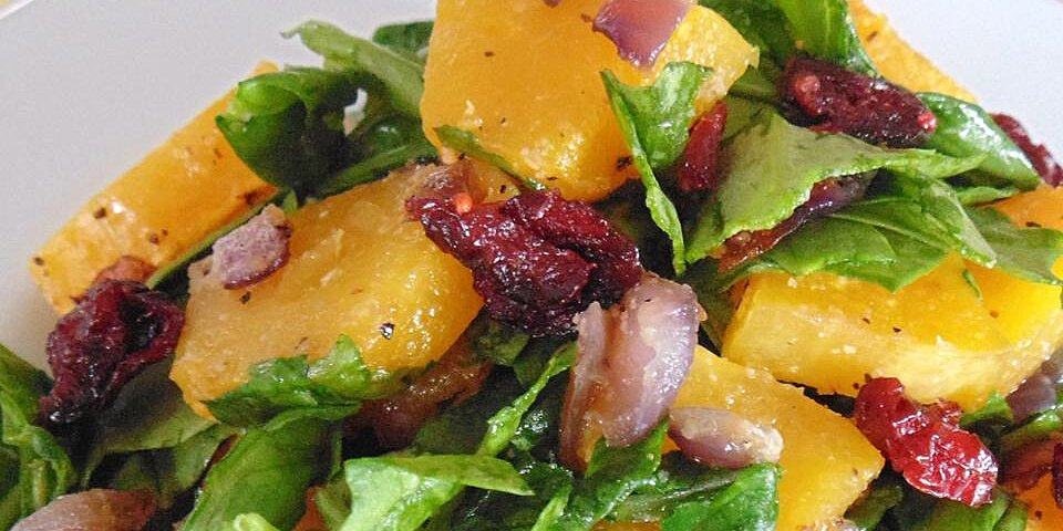roasted butternut squash with onions spinach and craisins