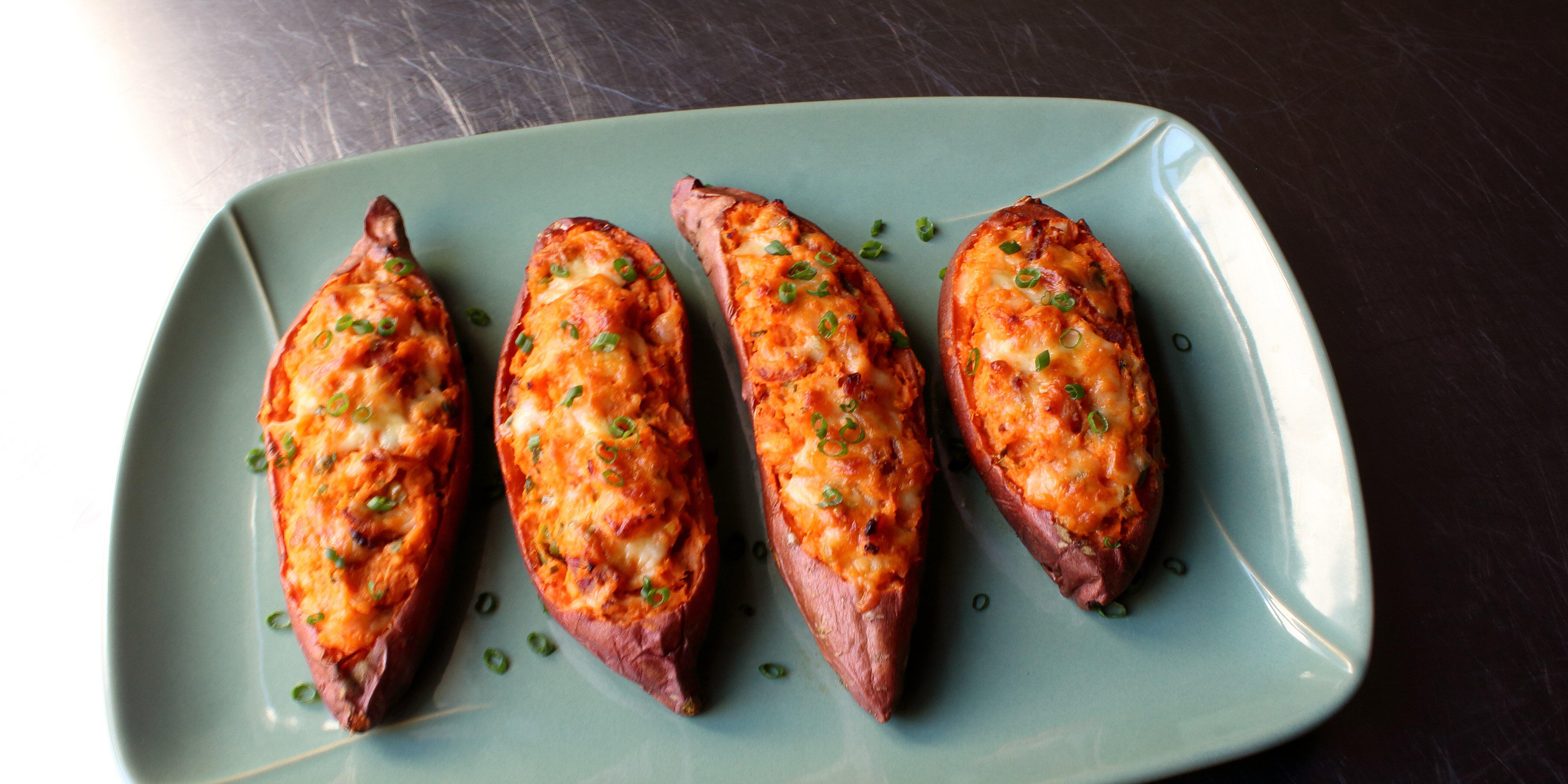 loaded twice baked sweet potatoes