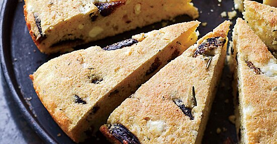 Skillet Corn Bread with Figs, Feta and Rosemary Recipe