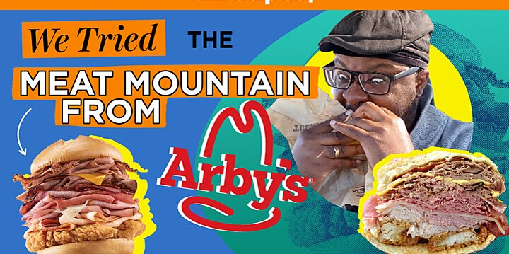we tried the meat mountain from arbys secret menu