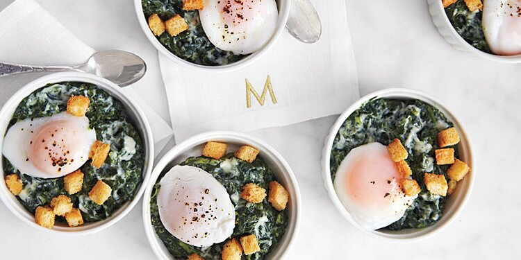 Creamed Spinach With Poached Eggs And Brioche Croutons Recipe Martha Stewart