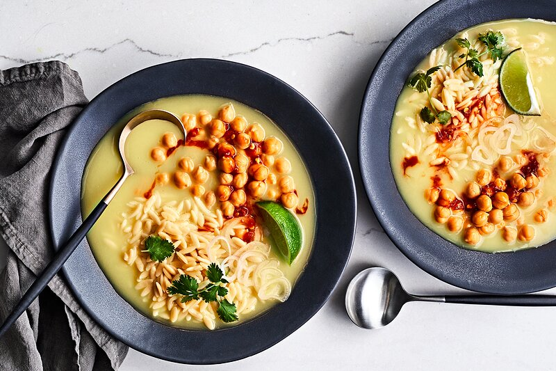 Orzo and Chickpeas with Turmeric-Ginger Broth