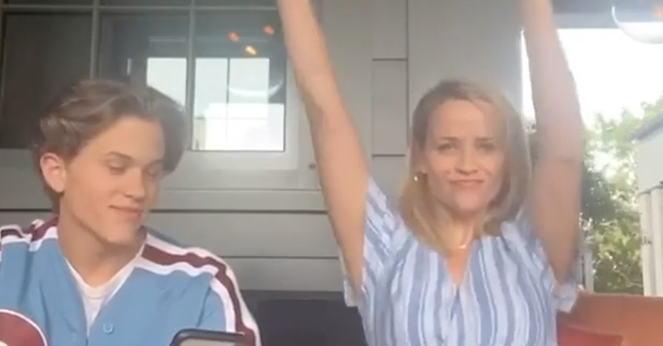 Reese Witherspoon supports/embarrasses her son with TikTok dance set to his first single