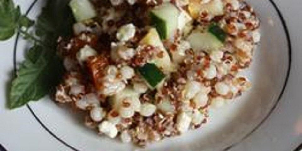 quinoa couscous and farro salad with summer vegetables