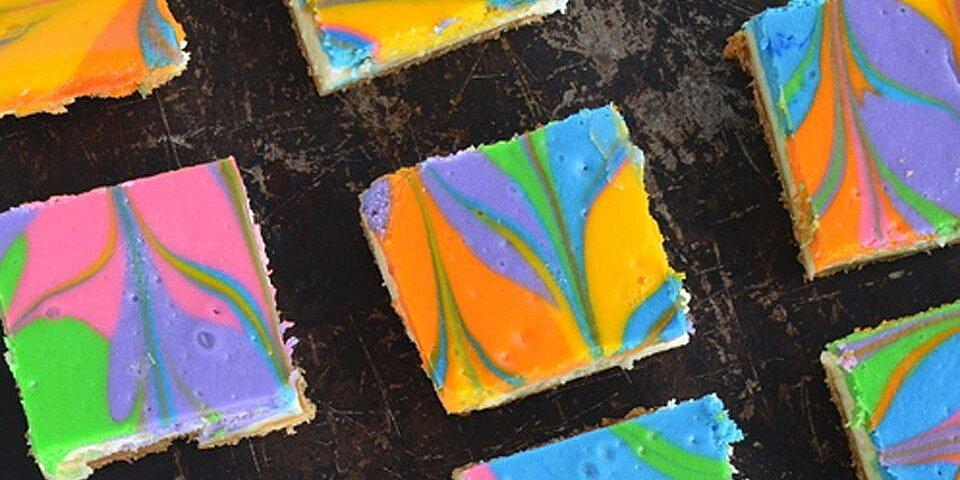 rainbow vanilla cheesecake cookie bars recipe