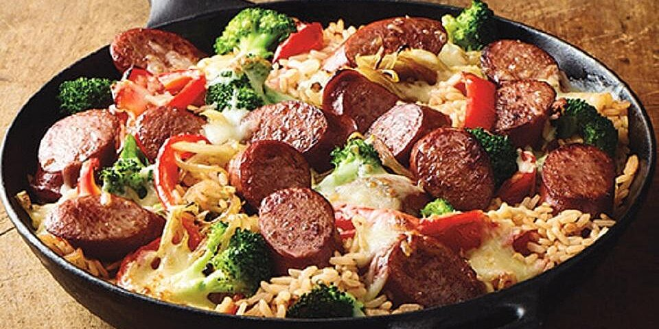 easy smoked sausage skillet
