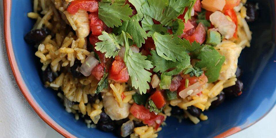 one skillet chicken burrito bowls recipe