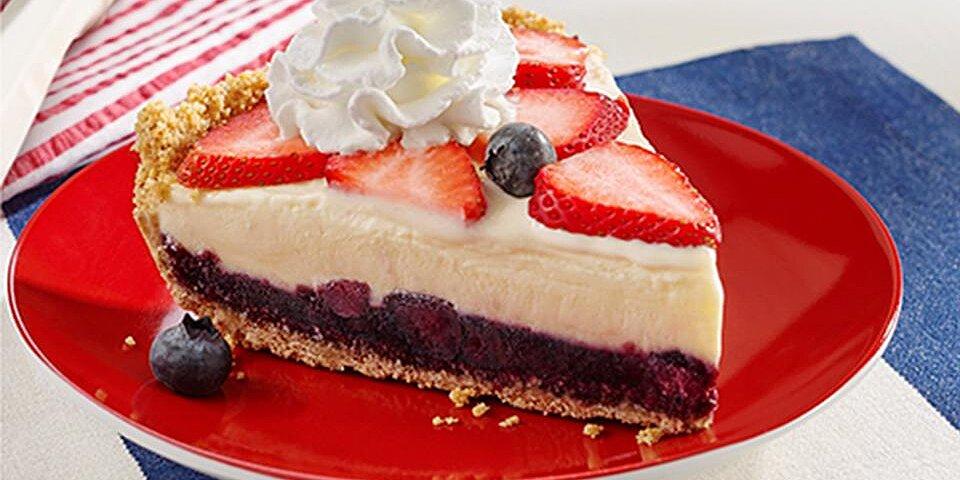 red white and blue ice cream pie