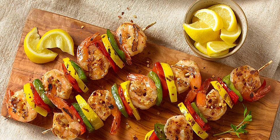 spanish garlic shrimp on skewers recipe
