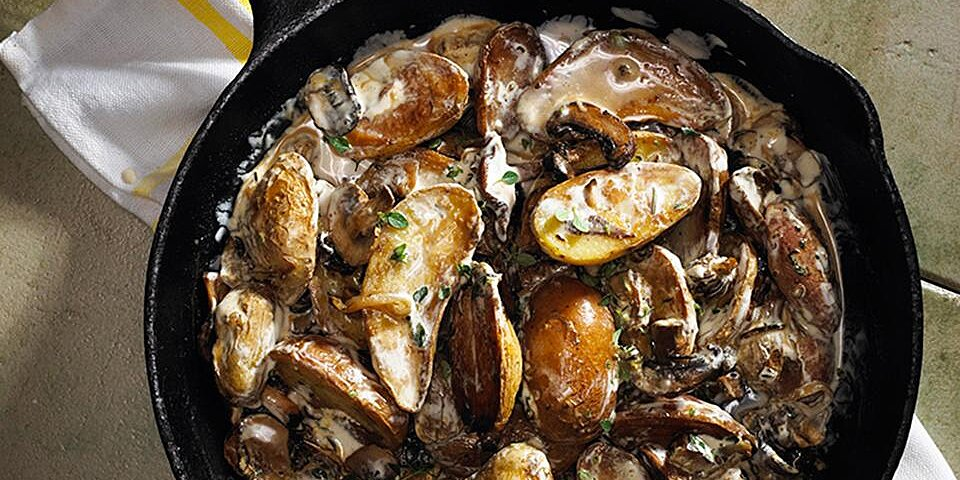 pan fried fingerling potatoes with wild mushroom sauce recipe