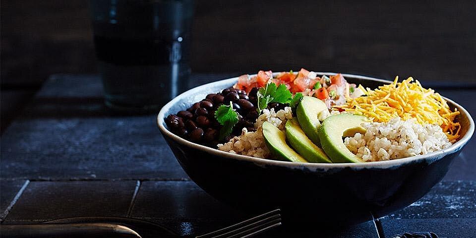 brown rice bean burrito bowl